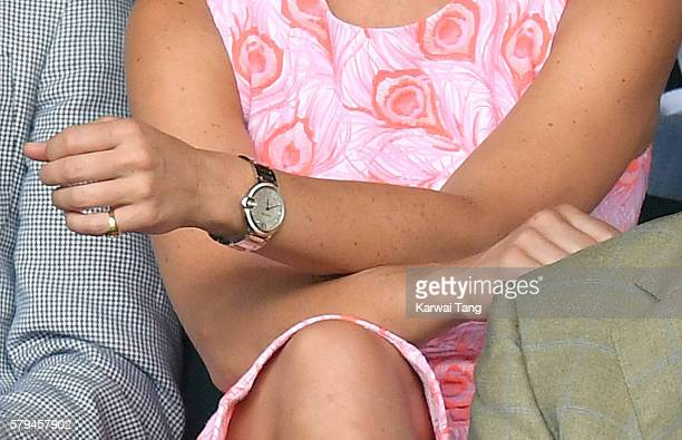 Pippa Middleton Cartier watch detail attends day nine of the Wimbledon Tennis Championships at Wimbledon on July 06 2016 in London England