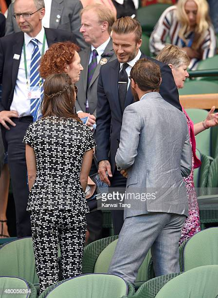 Pippa Middleton David Beckham and James Middleton attend day ten of the Wimbledon Tennis Championships at Wimbledon on July 9 2015 in London England