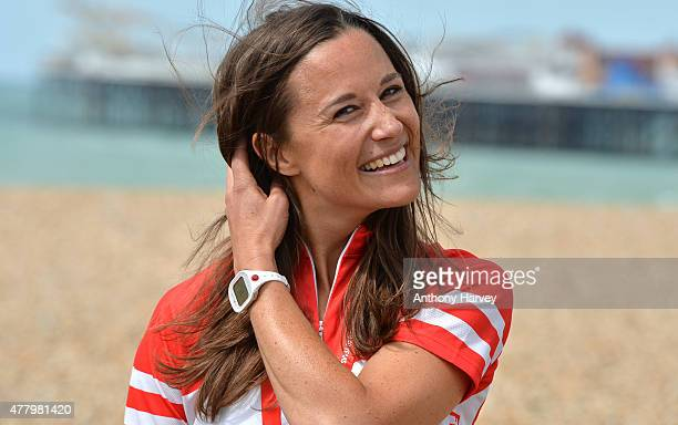 Pippa Middleton Finishes the London To Brighton Bike Ride For British Heart Foundation on June 21, 2015 in Brighton, England.