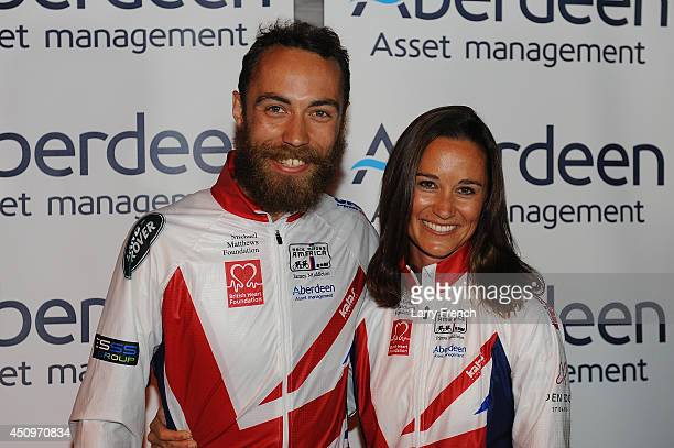 Pippa Middleton is seen with her brother James Middleton after finishing the Race Across America 2014 on June 20 2014 in Annapolis Maryland
