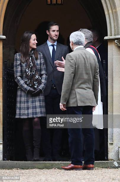 Pippa Middleton James Matthews and Michael Middleton leave following the service at St Mark's Church on Christmas Day on December 25 2016 in...