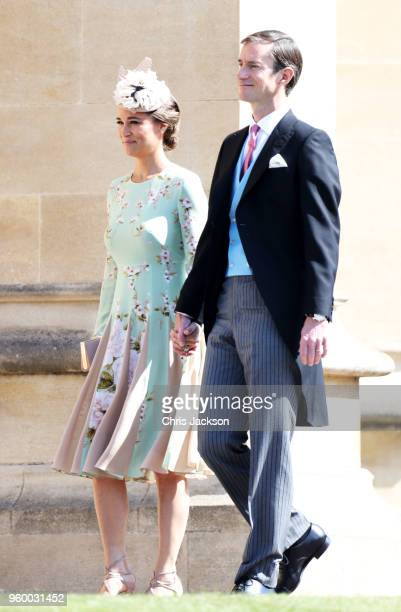 Pippa Middleton James Matthews arrive at the wedding of Prince Harry to Ms Meghan Markle at St George's Chapel Windsor Castle on May 19 2018 in...