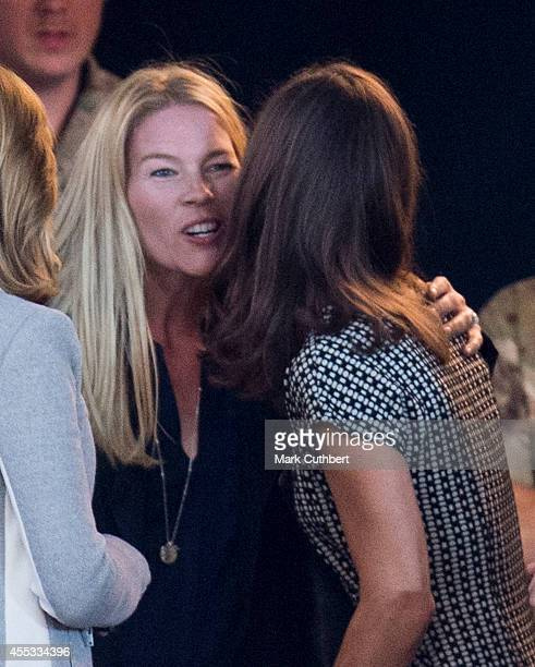 Pippa Middleton kisses Autumn Phillips before an exhibition Wheelchair Rugby match during The Invictus Games on September 12 2014 in London England