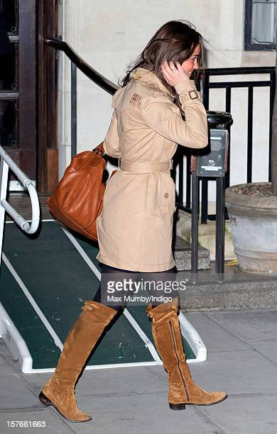 Pippa Middleton leaves the King Edward VII Hospital after visiting her pregnant sister Catherine Duchess of Cambridge who is being treated for acute...