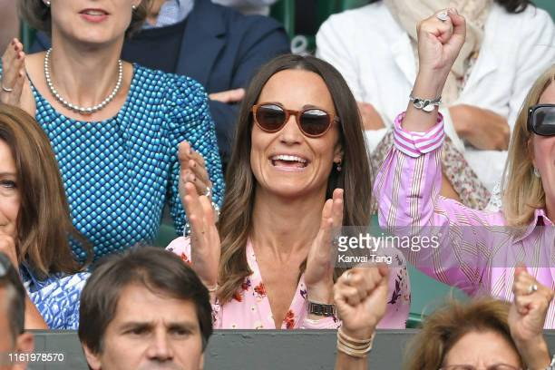 Pippa Middleton on Centre Court during Men's Finals Day of the Wimbledon Tennis Championships at All England Lawn Tennis and Croquet Club on July 14,...