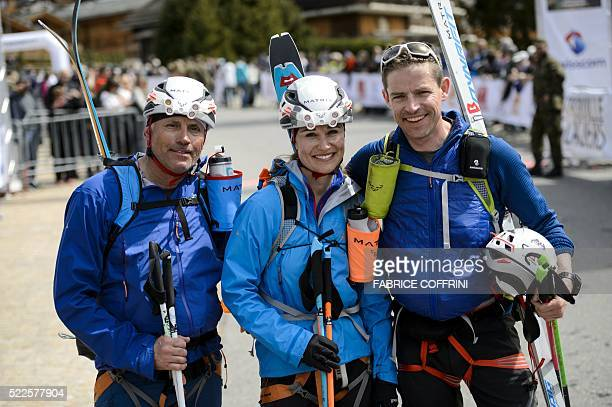Pippa Middleton poses with teammates Bernie Shrosbree and Tarquin Cooper after crossing the finishline of the Patrouille des Glaciers ski...