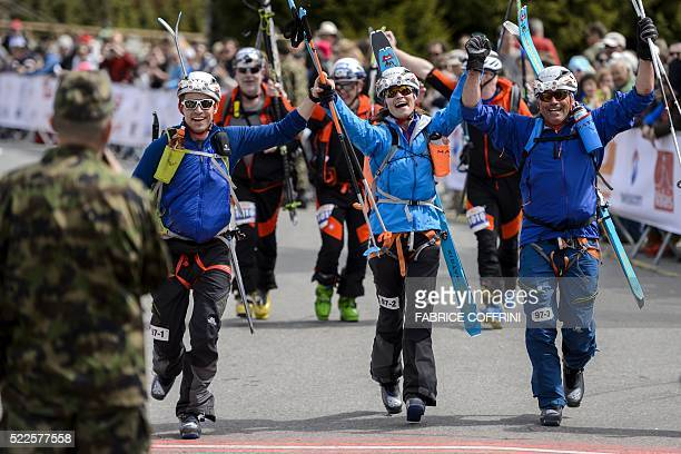 TOPSHOT Pippa Middleton reacts next to teammates Tarquin Cooper and Bernie Shrosbree as they cross the finishline of the 'Patrouille des Glaciers'...