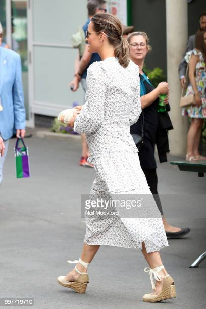 Pippa Middleton seen arriving at Wimbledon for Men's Semi Final Day on July 12 2018 in London England