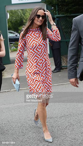 Pippa Middleton seen arriving at Wimbledon on July 4 2016 in London England