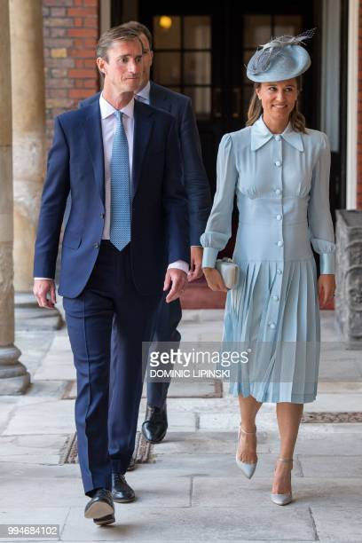 Pippa Middleton sibling of Britain's Catherine Duchess of Cambridge arrives with her husband James Matthews for the christening of Britain's Prince...