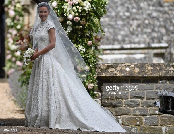 TOPSHOT Pippa Middleton sister of Britain's Catherine Duchess of Cambridge arrives for her wedding to James Matthews at St Mark's Church in...