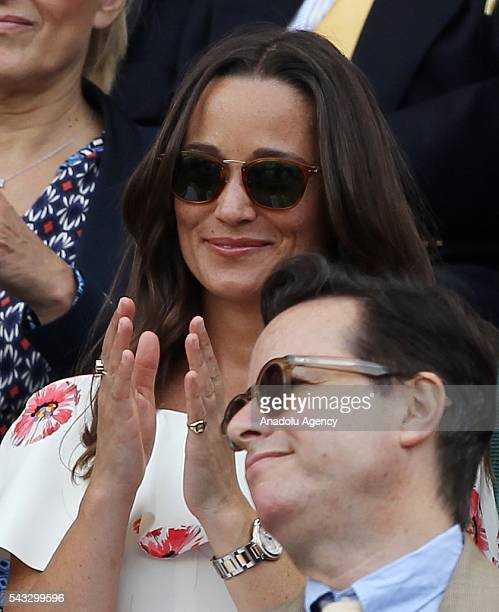 Pippa Middleton sister of Kate Prince William's wife watches the tennis match between James Ward of England and Novak Djokovic of Serbia in the mens'...