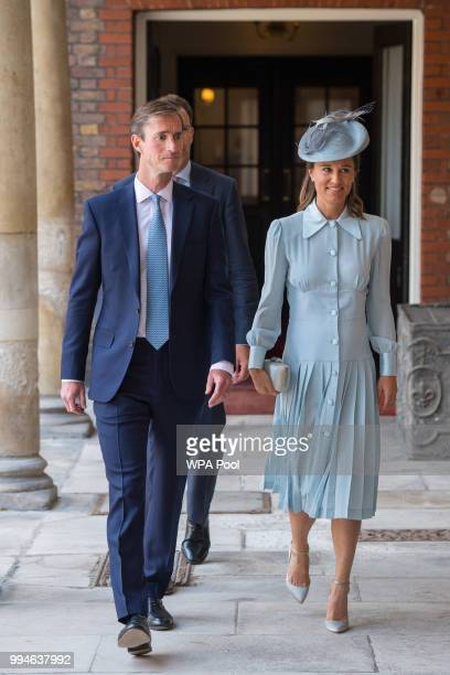 Pippa Middleton the sister of Britain's Catherine Duchess of Cambridge and her husband James Matthews attend the christening of Prince Louis at the...