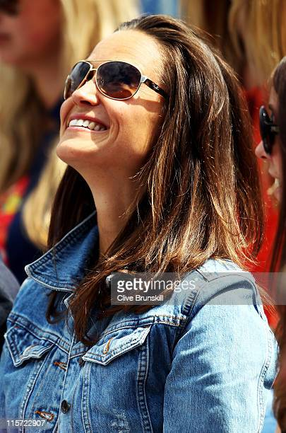 Pippa Middleton watches the Men's Singles third round match between Andy Roddick of the United States and Kevin Anderson of South Africa on day four...