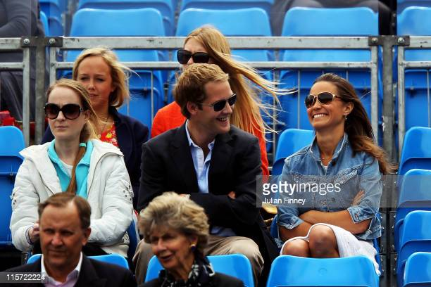 Pippa Middleton with George Percy watches the Men's Singles third round match between Andy Roddick of the United States and Kevin Anderson of South...