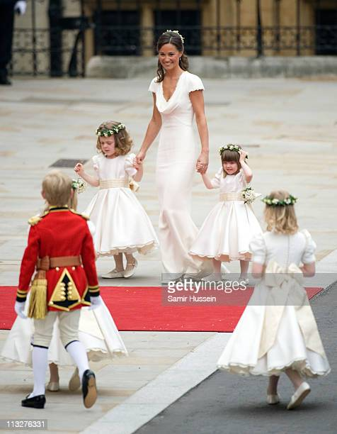 Pippa Middleton with Grace van Cutsem and Eliza Lopez arrive for the marriage of Their Royal Highnesses Prince William Duke of Cambridge and...
