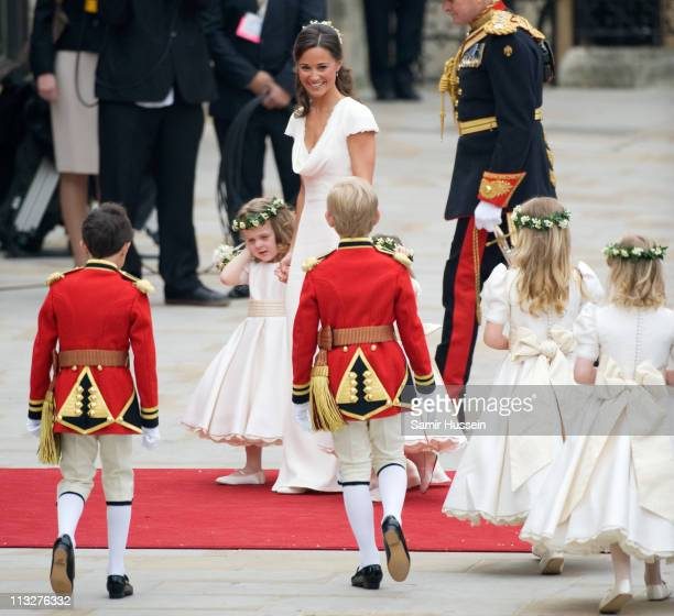 Pippa Middleton with Grace van Cutsem arrive for the marriage of Their Royal Highnesses Prince William Duke of Cambridge and Catherine Duchess of...