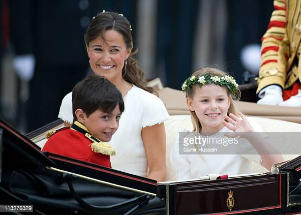 Pippa Middleton with William LowtherPinkerton and Margarita ArmstrongJones depart the marriage of Their Royal Highnesses Prince William Duke of...