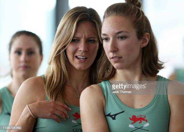 Pippa Whittaker and Kate Korvat of Cambridge University Women's Boat Club look on during The Boat Race Crew Announcement 2019 on March 14 2019 in...