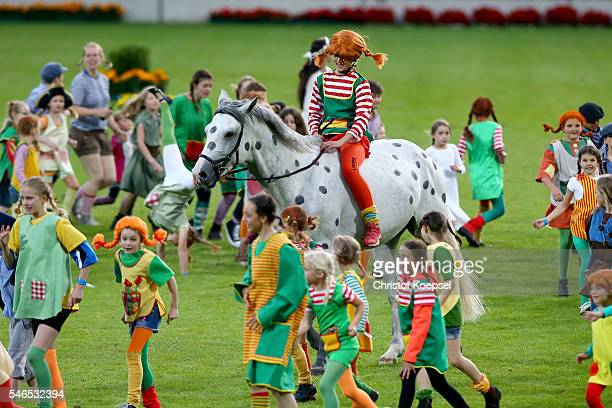 Pippi Langstrumpf of Astrid Lindgren rides during the Opening Ceremony of CHIO 2016 at Aachener Soers on July 12 2016 in Aachen Germany