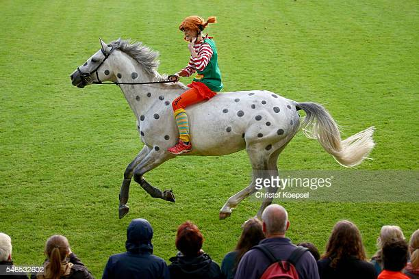 Pippi Langstrumpf of author Astrid Lindgren rides during the Opening Ceremony of CHIO 2016 at Aachener Soers on July 12 2016 in Aachen Germany