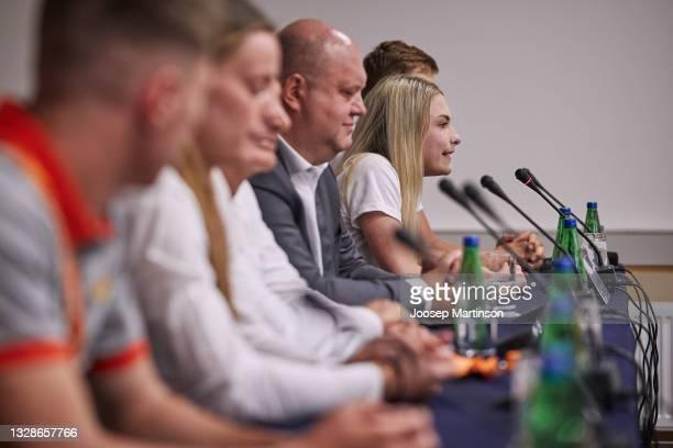 Pippi-Lotta Enok of Estonia speaks to the media during the European Athletics U20 Championships press conference at Radisson Blu Hotel Olümpia...