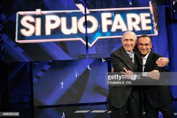 Pippo Baudo and Carlo Conti attend 'Si Puo Fare' Tv Show at RAI Studios on April 9 2015 in Rome Italy