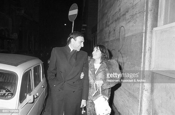 Pippo Baudo Italian TV host walking along the street with the girlfriend Adriana Russo Italian actress and singer Italy 1978