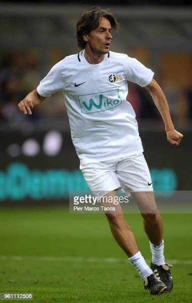 Pippo Inzaghi in action during Andrea Pirlo Farewell Match at Stadio Giuseppe Meazza on May 21 2018 in Milan Italy