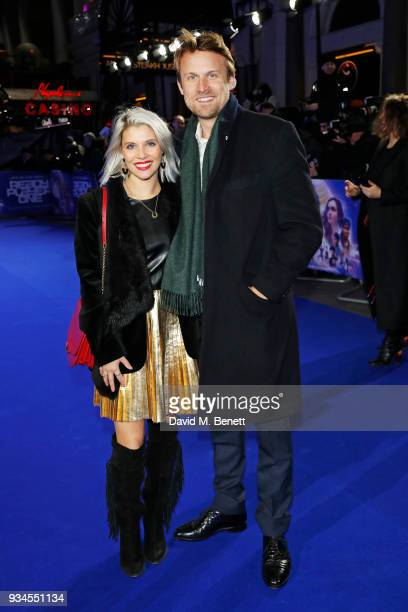 Pips Taylor and Tom Hamilton attend the European Premiere of 'Ready Player One' at the Vue West End on March 19 2018 in London England