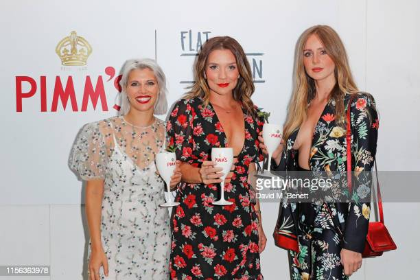Pips Taylor Candice Brown and Diana Vickers celebrate the Pimm's Summer Garden at Flat Iron Square on July 18 2019 in London England