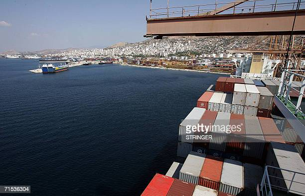 A view of the Greek container terminal of Neo Ikonio near the main port of Piraeus taken 27 July 2006 Seeking to woo Chinese trade and act as China's...