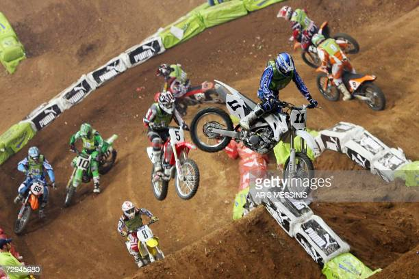 Supercross drivers compete during the 2007 Athens supercross in Piraeus near Athens 07 January 2007 AFP PHOTO / Aris Messinis