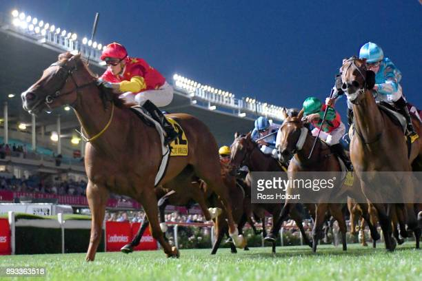 Pirapala ridden by Fred Kersley wins the IGA Supermarkets Handicap at Moonee Valley Racecourse on December 15 2017 in Moonee Ponds Australia