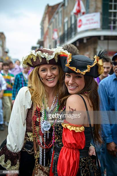 pirate costumes at mardi gras, new orleans - mardi gras fun in new orleans stock photos and pictures