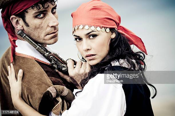 pirate couple - female pirate stock photos and pictures