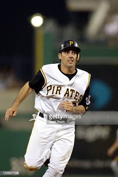 Pirate Jack Wilson runs to 3rd base on a Jason Bay single at PNC Park in Pittsburgh Pennsylvania July 3 2004