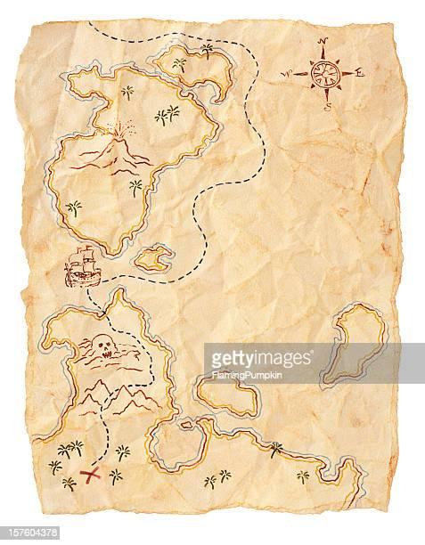 Piraten-Karte zu begraben Schatz, Textfreiraum. Isoliert auf weiß.