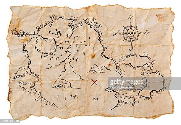 Pirate Map to Buried Treasure, Isolated on White. Horizontal.