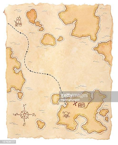 Pirate carte au trésor enterré. Isolé sur blanc.
