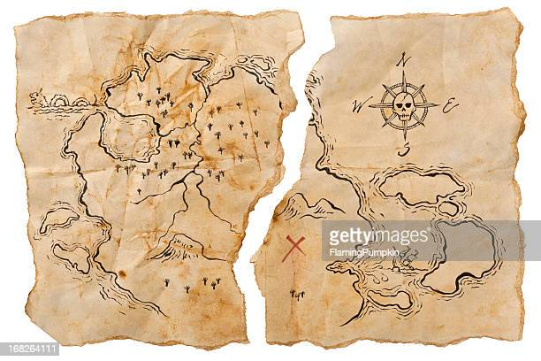Pirate Map to Buried Treasure, Torn in Half. Horizontal.