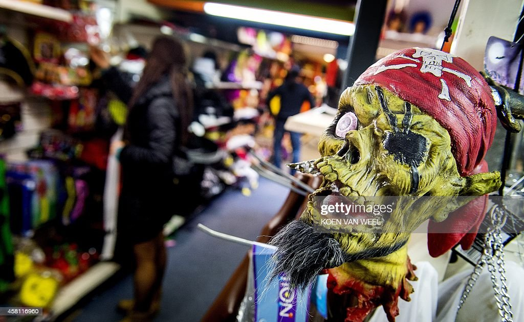 A pirate mask is displayed in a shop in Amsterdam on October 30