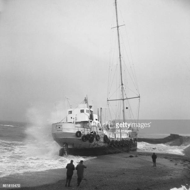Pirate music station Radio Caroline after she run aground between Frinton and HollandonSea after dragging her moorings in a fierce gale during the...