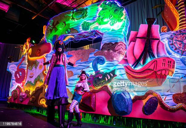 Pirate performers stand in front of a parade float during a preview of Universal's Mardi Gras themed Treasures of the Deep on Wednesday Jan 29 2020