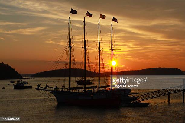 pirate ship at dawn, bar harbor, maine - bar harbor stock photos and pictures