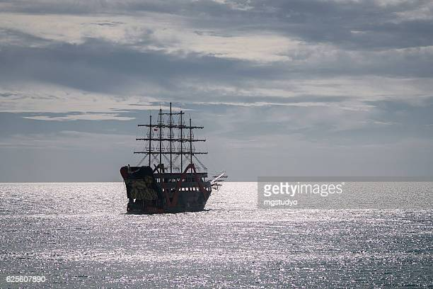 pirate ship on the sea