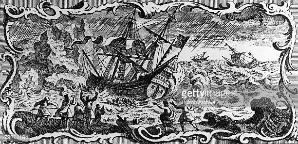 A pirate ship or 'corsair' encounters bad weather off the Barbary Coast of North Africa circa 1650 An engraving by A Maisonneuve after A Humblot