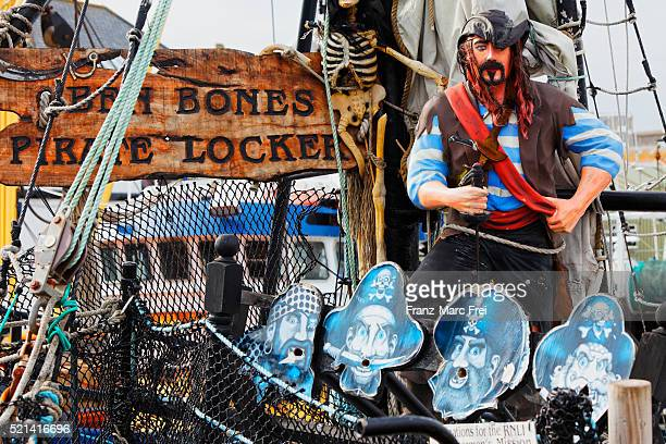Pirate shop on a boat in the harbour of Penzance