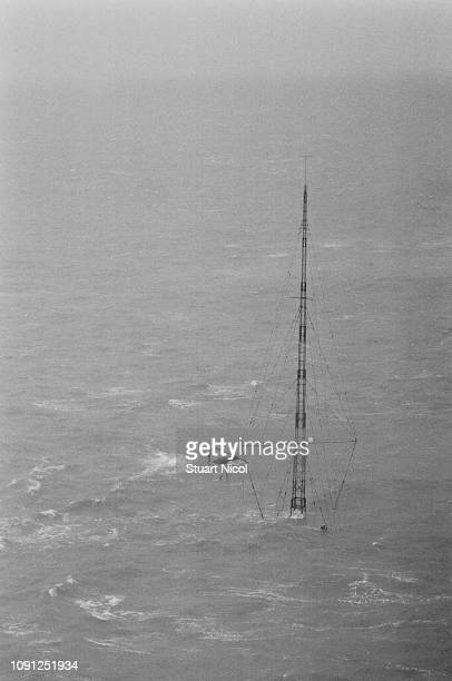 Pirate station Radio Caroline ship sink following a violent storm which caused the ship's anchor to broke, UK, 20th March 1980.