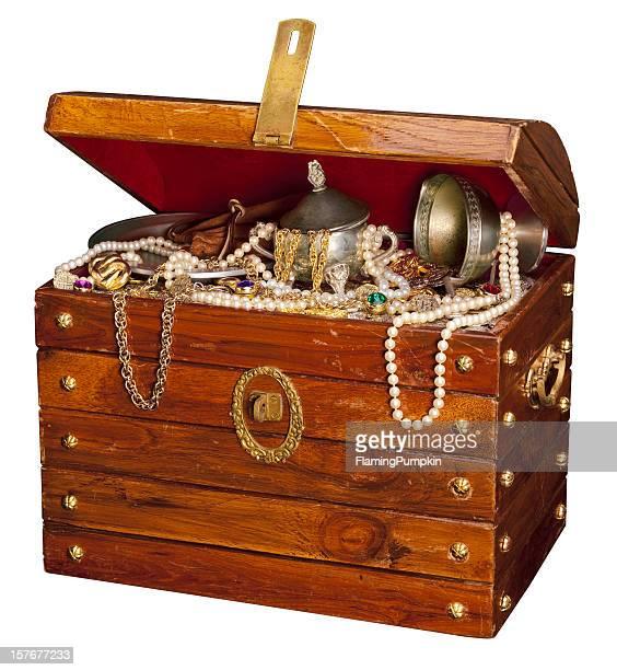 Pirate coffre au trésor, isolé sur fond blanc.